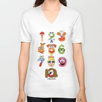 muppet V-neck T-shirts featuring Muppet Babies Numbers by Mike Boon