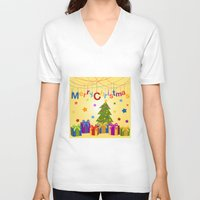 merry christmas V-neck T-shirts featuring Merry Christmas by itsme.emi