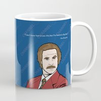 anchorman Mugs featuring Ron Burgundy Anchorman  by Sheena White for Winsome Gallery