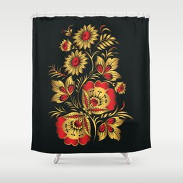Golden russian folk Shower Curtain