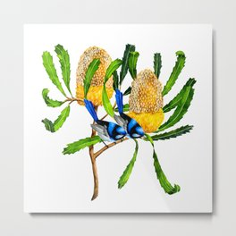 Wrens in the banksia tree Metal Print