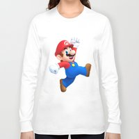 mario Long Sleeve T-shirts featuring Mario by Maxvision
