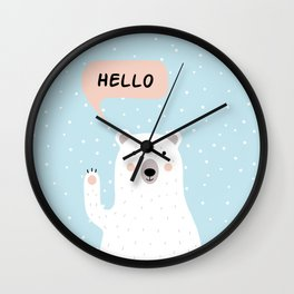 Cute Polar Bear in the Snow says Hello Wall Clock