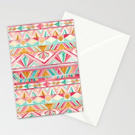 Spring Gems // Pink Gold and Turquoise Geometric Pattern Stationery Cards