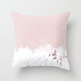 Marble spill on pink concrete Throw Pillow