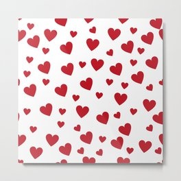 Hearts pattern - red Metal Print