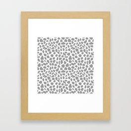 Animal print spots dot dots pattern minimal grey and white basic nursery art Framed Art Print