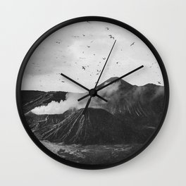 Birds Over Mount Bromo, Indonesia Black and White Wall Clock