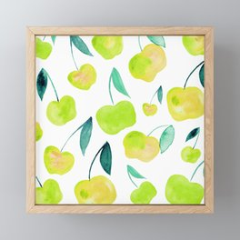 Watercolor cherries - yellow and green Framed Mini Art Print