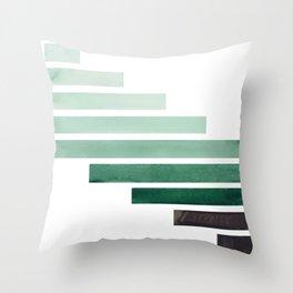 Deep Aqua Green Midcentury Modern Minimalist Staggered Stripes Rectangle Geometric Aztec Pattern Wat Throw Pillow
