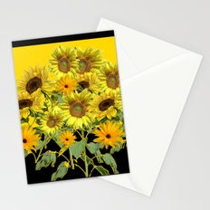 GOLDEN -BLACK SUNNY YELLOW SUNFLOWERS FIELD ART Stationery Cards