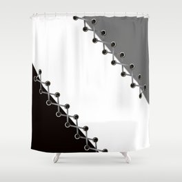 Lacing . Black , white and grey . Shower Curtain