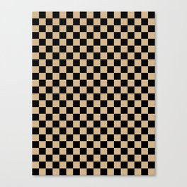 Black and Tan Brown Checkerboard Canvas Print