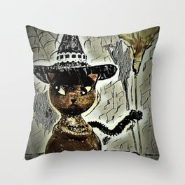 Sassy Witch Cat Throw Pillow