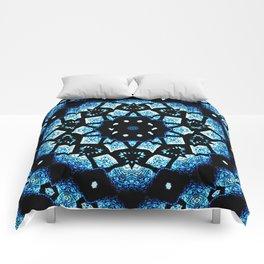 Blue Black Mosaic Kaleidoscope Mandala Comforters