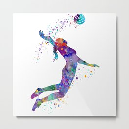 Volleyball Girl Colorful Blue Purple Watercolor Artwork Metal Print