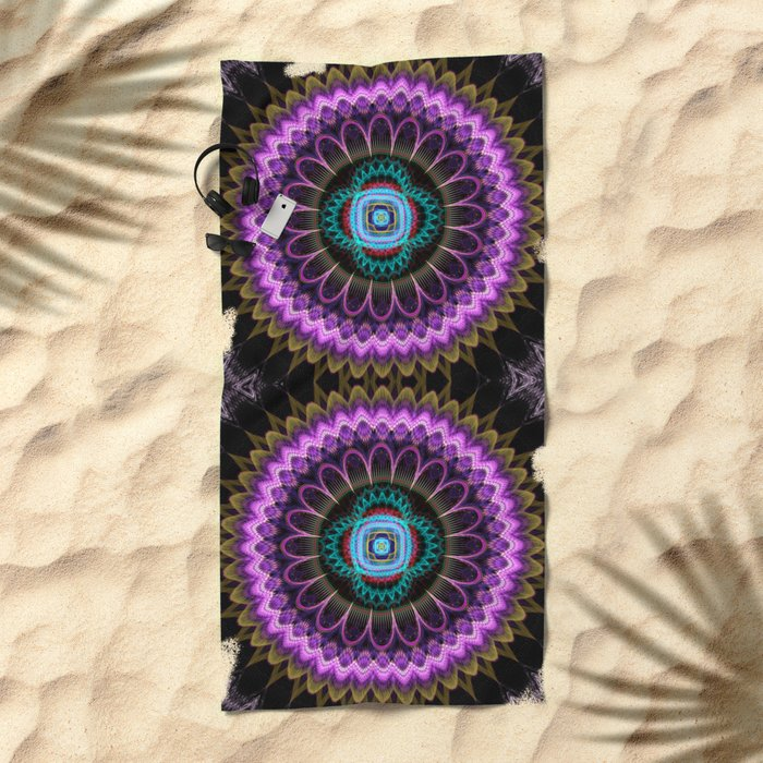 Groovy mandala with fantasy flower and tribal patterns Beach Towel