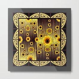 GREY ART DECO SUNFLOWERS ABSTRACT Metal Print