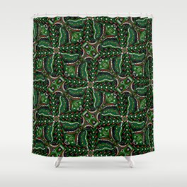 Bohemian Folkart Floral - Christmas Foliage Floral, Traditional Green & Red Pattern with Folklore Fe Shower Curtain