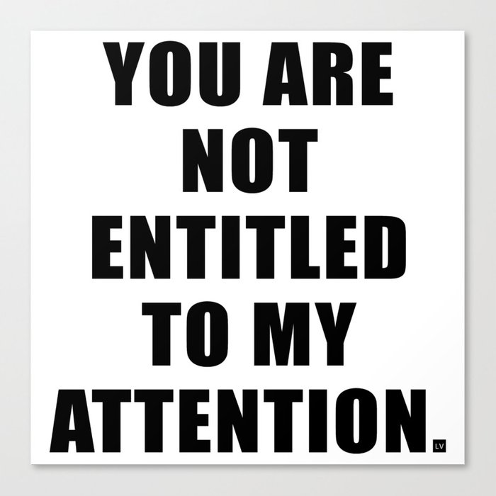 YOU ARE NOT ENTITLED TO MY ATTENTION. Canvas Print