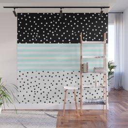 Modern black white teal stripes watercolor polka dots Wall Mural