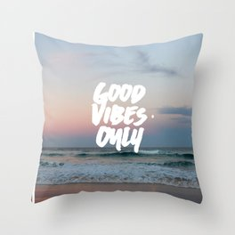 Good Vibes Only Beach and Sunset Throw Pillow