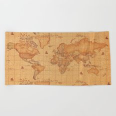 World Map LeaTher Beach Towel