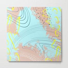 Beige blue splash Metal Print