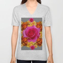 OLD GOLD-YELLOW & PINK ROSES ON GREY Unisex V-Neck