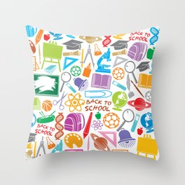 education and school icons background (seamless pattern) Throw Pillow
