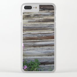 Cabin with Flowers Clear iPhone Case