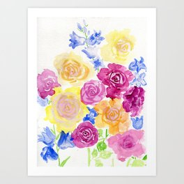 Roses and Campanula Art Print