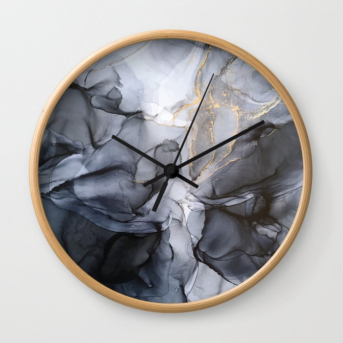 Calm but Dramatic Light Monochromatic Black & Grey Abstract Wall Clock