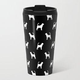 Bloodhound dog breed minimal pattern black and white dog lover bloodhounds breed Travel Mug