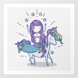Mermaid Riding Unicorn Art Print