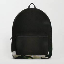 White Florals Flowers Against A Dark Background Negative Space Composition Backpack