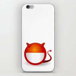 Red devilish smiling emoticon iPhone Skin
