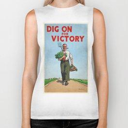 Vintage poster - Dig On For Victory Biker Tank