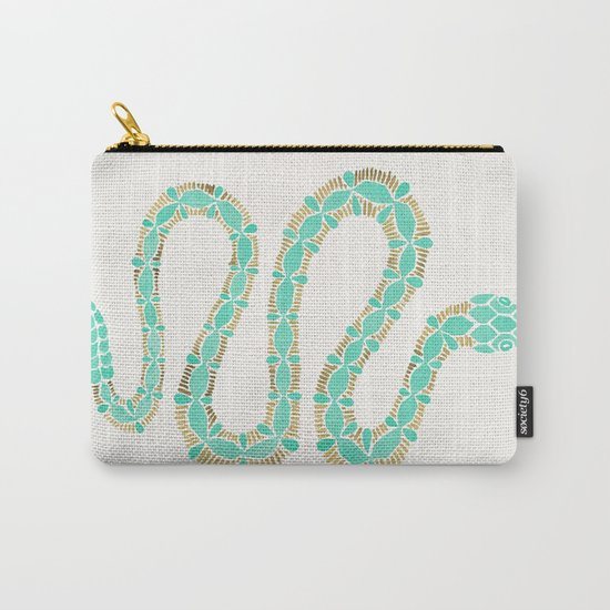 Mint & Gold Serpent Carry-All Pouch