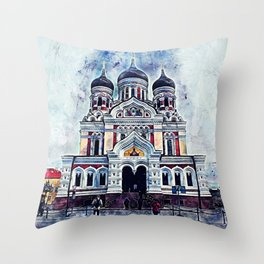 Alexander Nevsky Cathedral Tallinn Throw Pillow