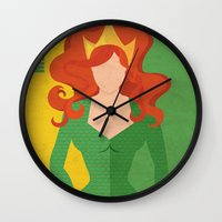 aquaman Wall Clocks featuring Mera by Loud & Quiet