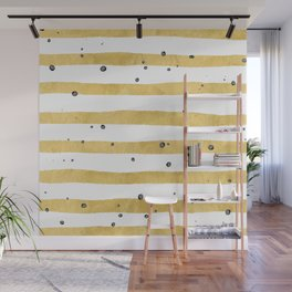 Modern hand painted yellow gold black watercolor splatters stripes Wall Mural