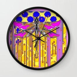 Polka Dragonfly Golden Rain Abstract Wall Clock