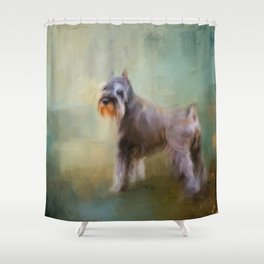 Schnauzer On Patrol Shower Curtain