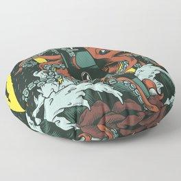 Octopus and Lighthouse Art Floor Pillow