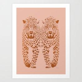 Sunset Blvd Leopard - blush pink and coral original print by Kristen Baker Art Print