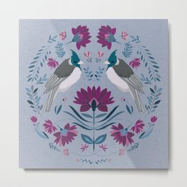Folk Art Birds || Purple and pink flower, blue and teal greenery, scandi folk painting Metal Print
