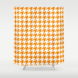 Orange: Houndstooth Checkered Pattern Shower Curtain