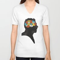 shaun of the dead V-neck T-shirts featuring Shaun Phrenology by Wharton