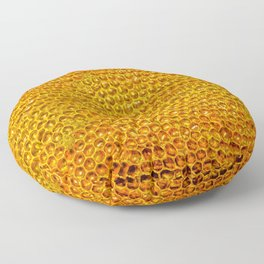 Yellow honey bees comb Floor Pillow